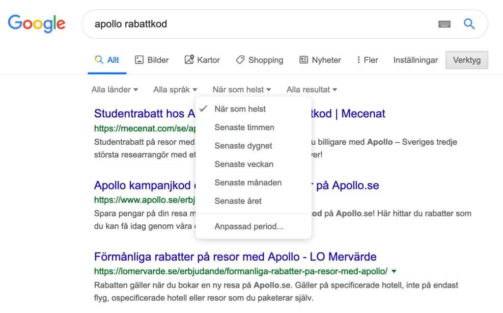 Sökning efter Apollo rabattkod på Google