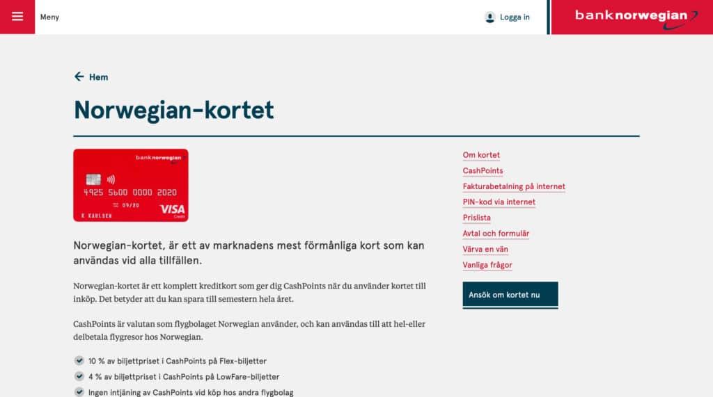 Bank Norwegian Norwegian-kortet